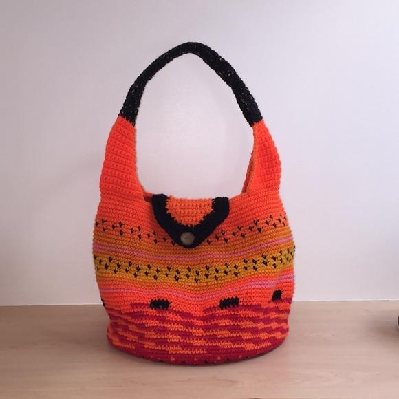"""Crochet hobo bucket bag 12"""" diameter base"""